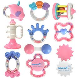 TUMAMA 10 Pcs Baby Rattles and Teethers Toys for Newborn Inf