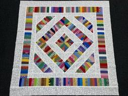 String Diamond Scrappy Quilt Top for Baby - Lots of Color