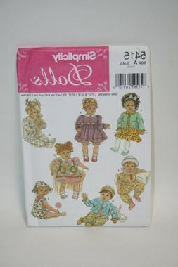 Simplicity Sewing Pattern 5415 - Wardrobe For Baby Dolls in