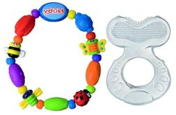Nuby Silicone Teether with Bristles & Bug-A-Loop Teether, Bl