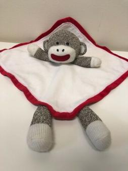 Baby Starters Sock Monkey Security Blanket/Rattle White Red