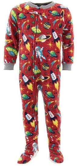 space ships red footed pajamas for baby