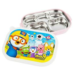 PORORO Stainless Steel Food Snack Plate Tray Lunch Box for K