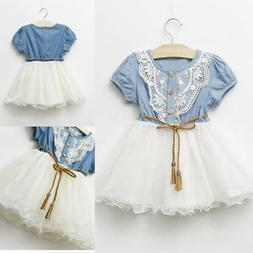 Summer Kid Baby Girl Denim Floral Lace Princess Dress Sleeve