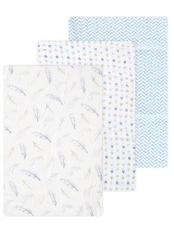 "Hudson Baby ""Winter Bird"" 3-Pack Swaddle Blanket - blue, one"