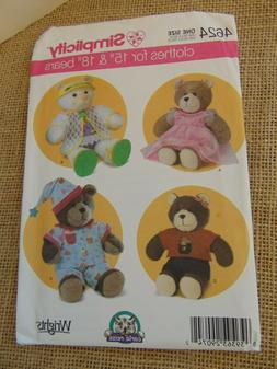 """Simplicity Teddy Bear Clothes for 15"""" & 18"""" Sewing Pattern"""