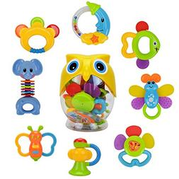 Teether Rattle Set Baby Toy - Happytime 8pcs Latest Rattle &
