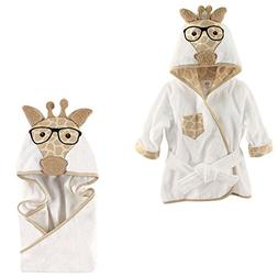 Hudson Baby Terry Cotton Bath Robe and Hooded Towel, Nerdy G
