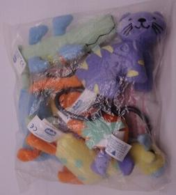 Chicco Tiny Miniature Plush Animals for Baby w Clips for han