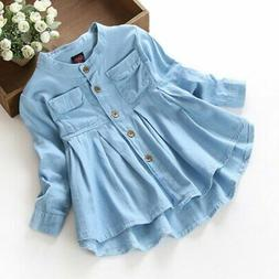 Toddler Baby Girls Kids Long Sleeve Top T-Shirt Cotton Butto