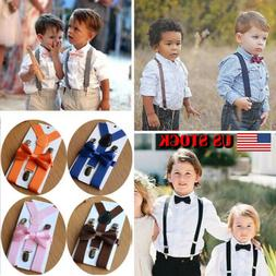 US New Adjustable Suspender and Bow Tie Set for Baby Toddler