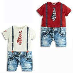 US Stock Summer Newborn Baby Boy Romper Jumpsuit Outfits Tie