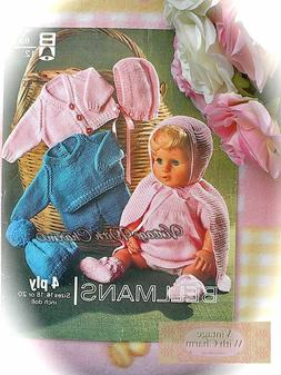 Vintage 70's Doll Clothes Knitting Pattern. 10 Piece Set For
