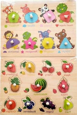 Wooden Peg Puzzles for Baby Toddlers Preschool Educational B