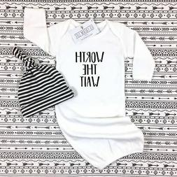 WORTH THE WAIT BABY GOWN COMING HOME OUTFIT GENDER NEUTRAL B