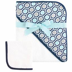 """HUDSON BABY BOYS WOVEN HOODED TOWEL AND WASHCLOTH 30"""" X 36"""""""