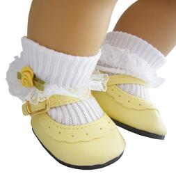 Yellow Shoes + Rosebud Socks for Bitty Baby Doll Clothes Hig